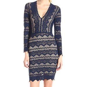 Nightcap Clothing Sierra Lace Deep V Dress - Navy